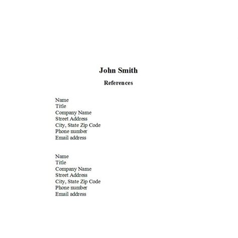 reference list for resume template creer pro