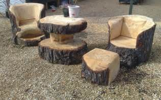 Patio Table Set With Fire Pit Unique Furniture Made From Tree Stumps And Logs