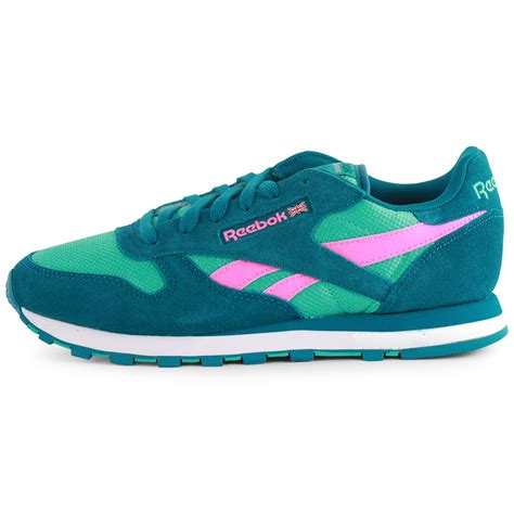 classic shoes reebok classic leather seasonal womens emerald trainers