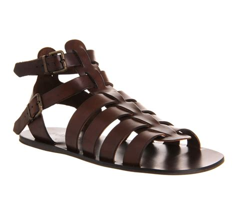 sandal shoes mens mens poste spiculus gladiator sandals brown leather