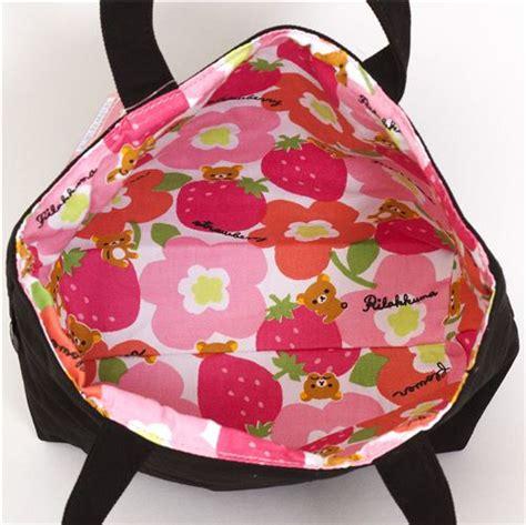 Rillakuma Bag Canvas Jinjing Pink canvas linen rilakkuma reversible handbag handbags