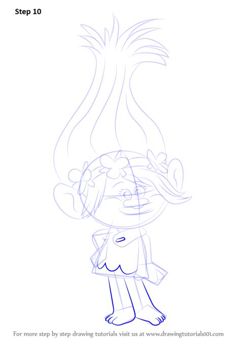 learn how to draw princess poppy from trolls trolls step