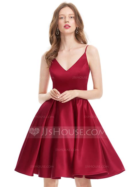 Homecoming Dresses by A Line Princess V Neck Knee Length Satin Homecoming Dress