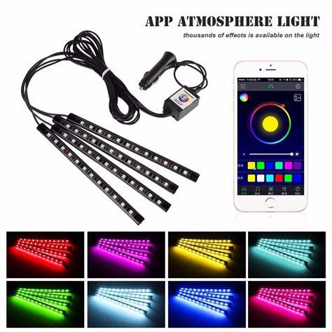 car interior decoration atmosphere light app 4x 12 led 7 color rgb interior atmosphere light floor