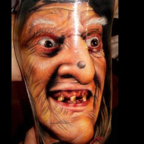 awesome realism style very detailed ugly witch tattoo