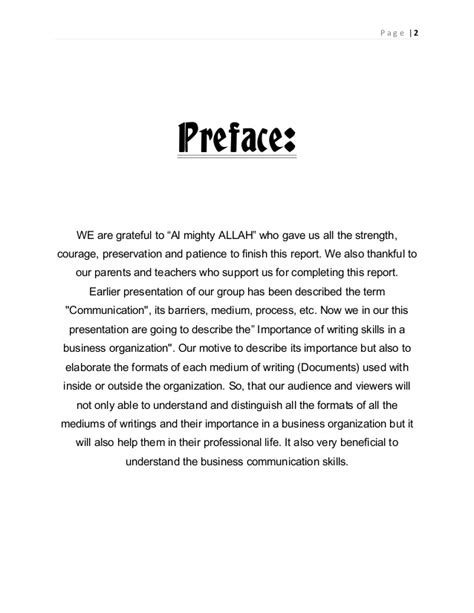 how to write a preface for a research paper writing skills in business organization