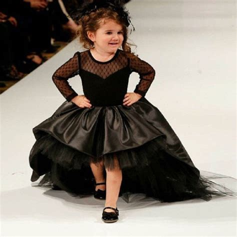 Dress Anak Flower Big aliexpress buy 2016 black flower dresses high low scoop sleeves floor length