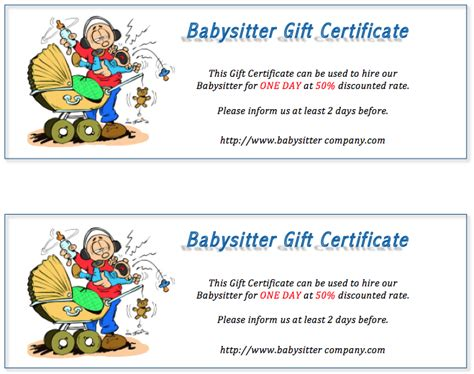 babysitting gift certificate template free babysitting coupon template