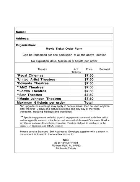 ticket order form