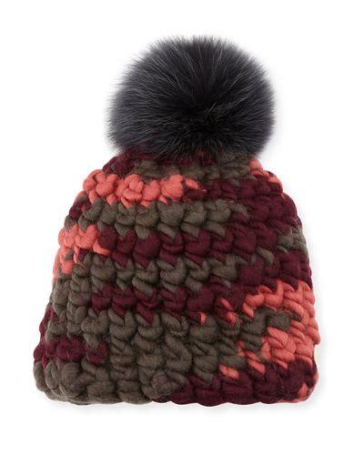 Melange Beanie Hat mischa lert melange beanie hat w fur pompom in gray