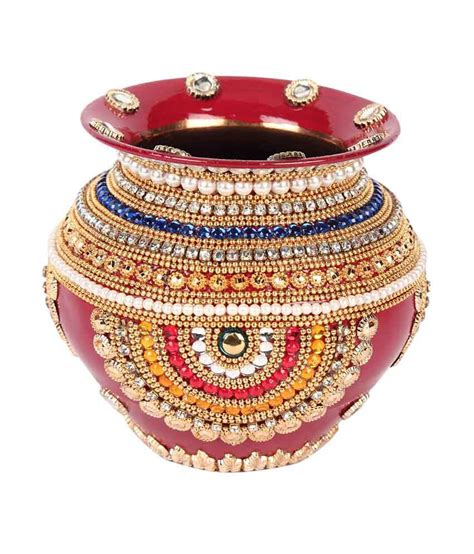 Suman Creations Rajasthani Decorated Copper Suman Creations Copper Pot Kalash With Diamonds And