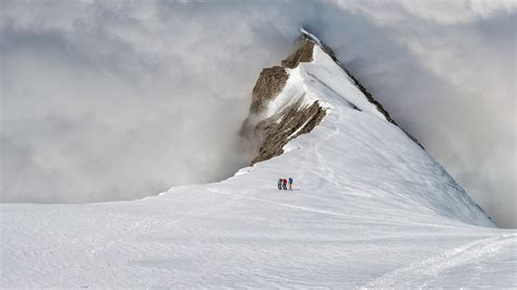 On The by Mountaineers On The Balmhorn In The Bernese Alps Of