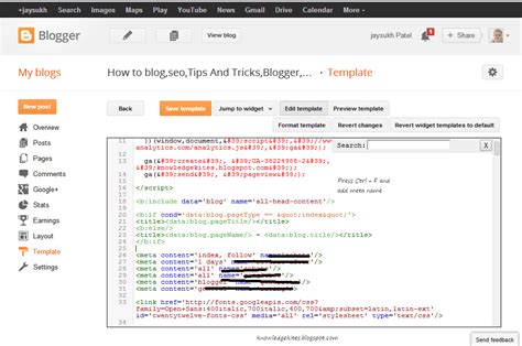 how to add meta tags in blogger blog and blog post step