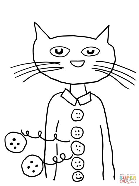 Pete The Cat Groovy Buttons Coloring Page Free Printable Pete The Cat Coloring Printable