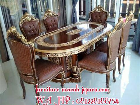 set meja makan enam kursi kayu jati furniture meja ukiran jepara kamar tidur ukiran