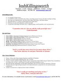 Musician Resume Exle by Portland Oregon Singing Telegrams And Lessons