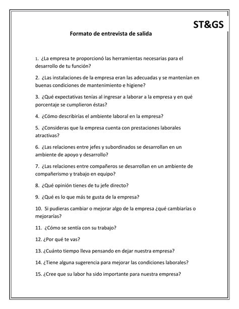 preguntas entrevista de salida 10 formato de entrevista de salida by fabiola ju 225 rez