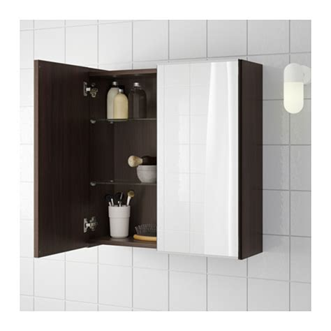 lill 197 ngen mirror cabinet with 2 doors black brown 60x21x64