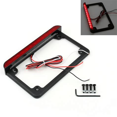 motorcycle license plate frame with led brake light universal motorcycle 6 quot led license plate frame with led