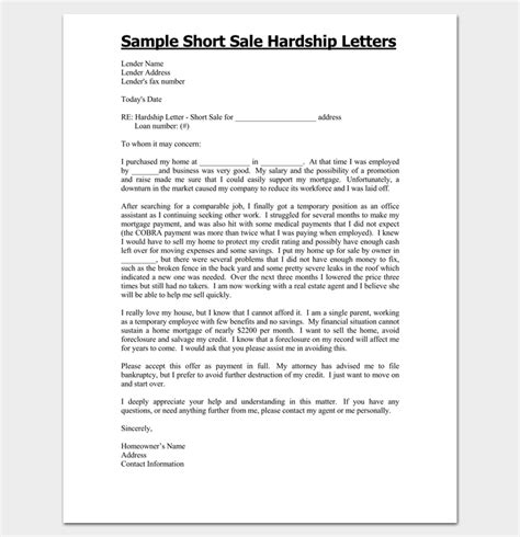 Mortgage Hardship Letter Exles For Sale Free Hardship Letter Template Sle 28 Images 35 Simple