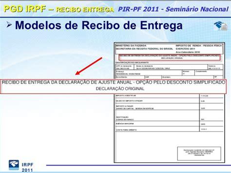 esocial como informar o nmero de recibo do ir pgd irpf 2011 principais novidades