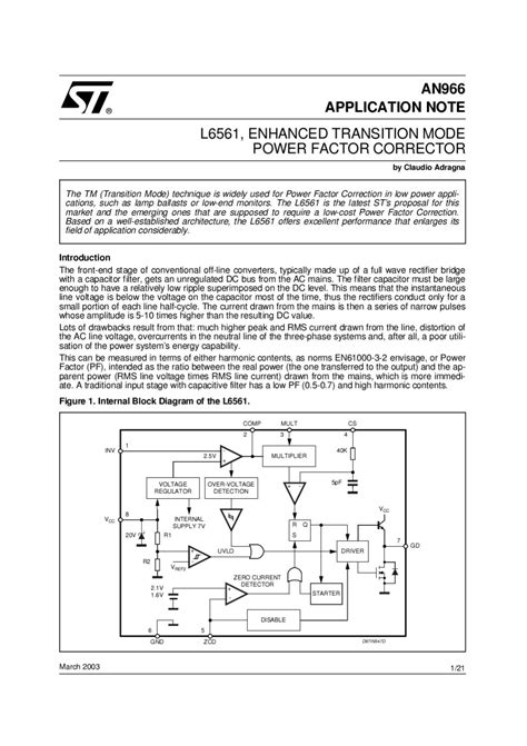 L6561 - POWER FACTOR CORRECTOR - Manual Sonigate by