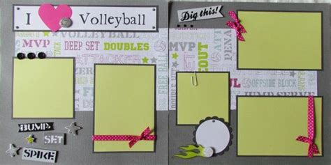 scrapbook layout ideas for volleyball i love volleyball 12x12 premade scrapbook pages girl