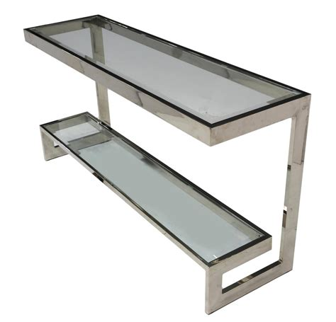 modern chrome glass two tier sofa table april estates