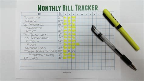 Easy Room Planner stay on top of your monthly bills free monthly bill