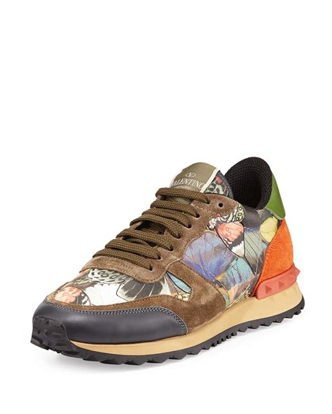 s valentino sneakers valentino butterfly camouflage rockstud sneaker in lyst
