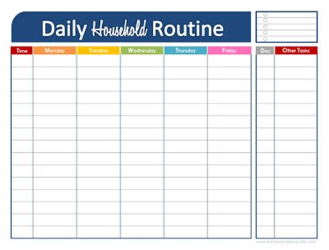 printable daily workout schedule free daily household routine printable free printable
