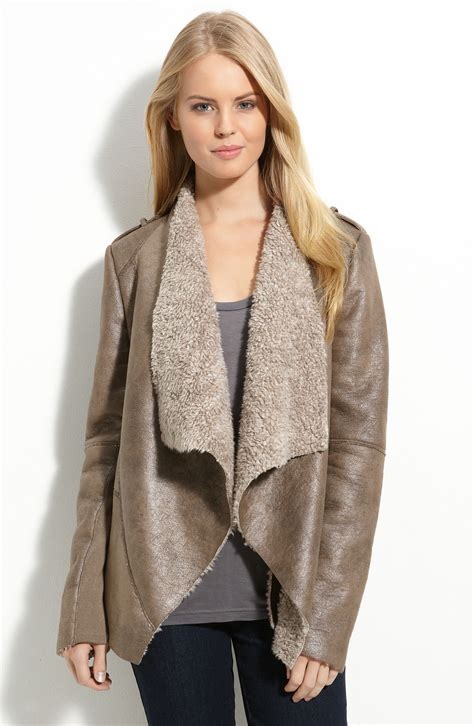 shearling drape jacket kenneth cole drape front faux shearling coat in brown