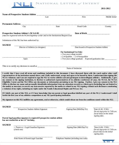 Release Letter National Code ncaa letter of intent release form docoments ojazlink