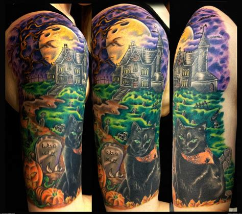halloween sleeve tattoo designs haloween haunted house half sleeve by gary