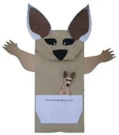 Kangaroo Puppet Template by If I Were A Kangaroo Paper Bag Puppet