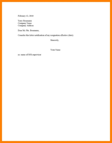 7 and simple resignation letter sle joblettered