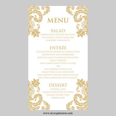 Menu Design Vorlagen Hochzeit 252 Karte Vorlage Gold Damast Instant