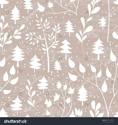 seamless pattern by hand winter forest seamless pattern hand drawn stock vector