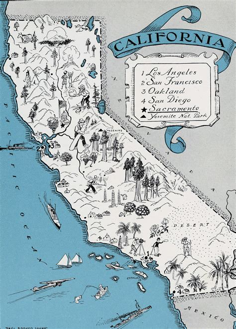 california tourist attractions map illustrated tourist map of california state california