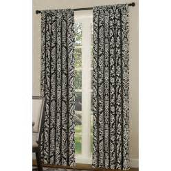 Black Window Curtains Shop Allen Roth Bristol 84 In L Room Darkening Multi Black White Rod Pocket Window Window