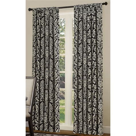 Black And White Window Curtains Shop Allen Roth Bristol 84 In L Room Darkening Multi Black White Rod Pocket Window Window
