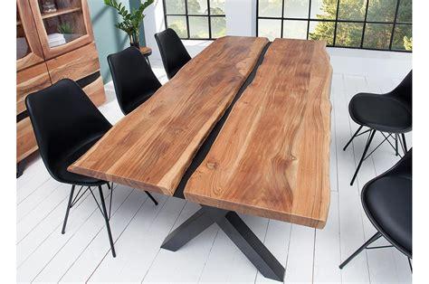 table  manger bois massif  metal noir rectangulaire