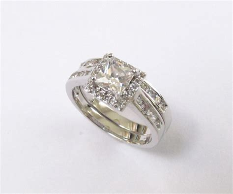 halo engagement set rhodium plated cz wedding rings sizes