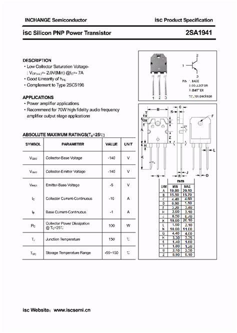datasheet transistor a1941 2sa1941 4336552 pdf datasheet ic on line