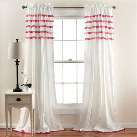 pom pom drapes lush decor aria pom pom curtain pink 72 liked on