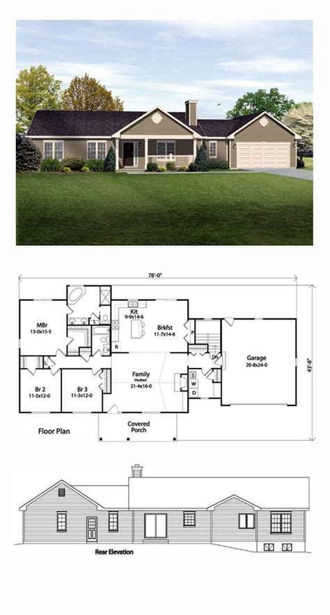 ranch floor plans with front porch ranch traditional house plan 49189 front porches dr