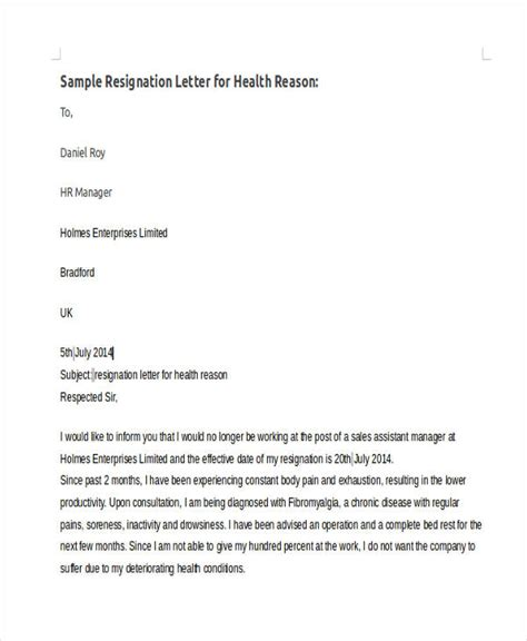 Best Sle Resignation Letter With Reason 42 Sle Resignation Letter Template Free Premium Templates