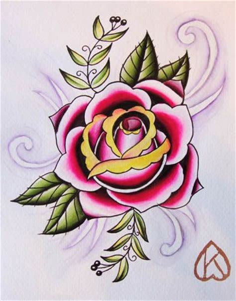 tattoo flash rose 8x10 original watercolor painting 20