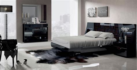 esf furniture marbella 4 platform bedroom set in black