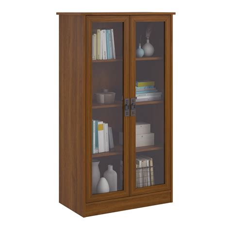 Cherry Bookcase With Doors Altra Quinton Point Bookcase With Glass Doors Inspire Cherry New Ebay